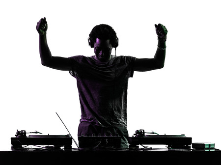 one disc jockey man in silhouette  on white background photo