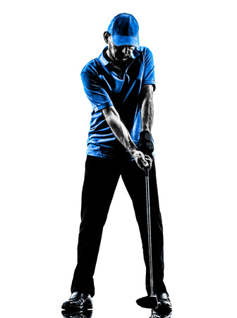 one man golfer golfing golf swing in silhouette studio isolated on white background photo