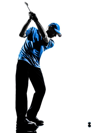 golfers: one man golfer golfing golf swing in silhouette studio isolated on white background