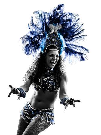 danseuse: une femme de race blanche danseuse de samba danse silhouette sur fond blanc