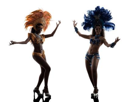 twee vrouwen samba danser silhouet op een witte achtergrond