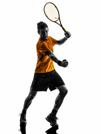 one man: one  man tennis player celebrating in silhouette on white background