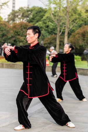 traditional costume: Shanghai, China - April 7, 2013: people exercising tai chi with traditional costume in gucheng park in the city of Shanghai in China on april 7th, 2013