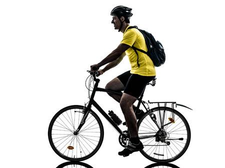one caucasian man exercising bicycle mountain bike   on white background photo