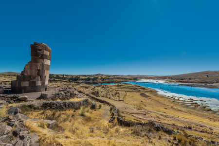 archaeology: Silustani tombs in the peruvian Andes at Puno Peru