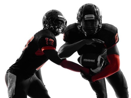 teammates: two american football players passing play action in silhouette shadow on white background