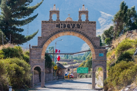 Chivay gateway in the peruvian Andes at Arequipa Peru Imagens