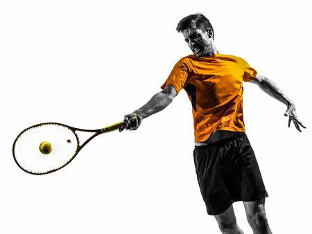 シルエット白い背景の上に一人の男テニス プレーヤーの肖像画