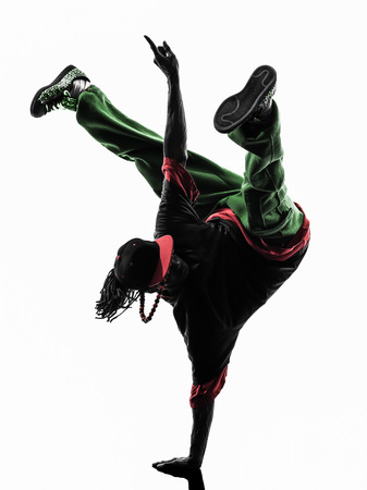 one hip hop acrobatic break dancer breakdancing young man handstand silhouette white background photo