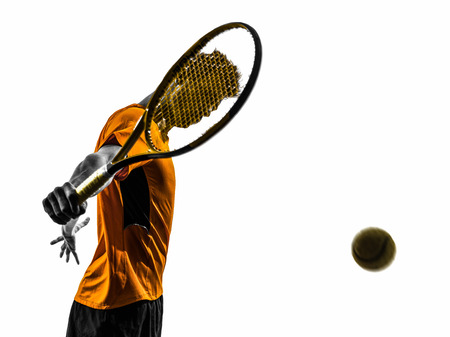 one man: one man tennis player portrait  in silhouette on white background