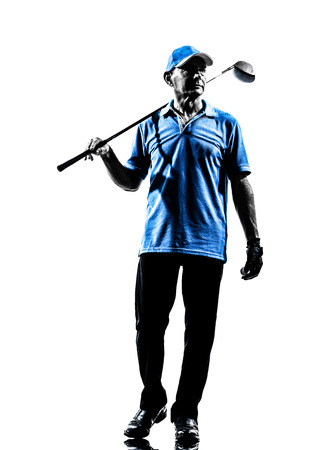 one man: one man golfer golfing in silhouette studio isolated on white background Stock Photo