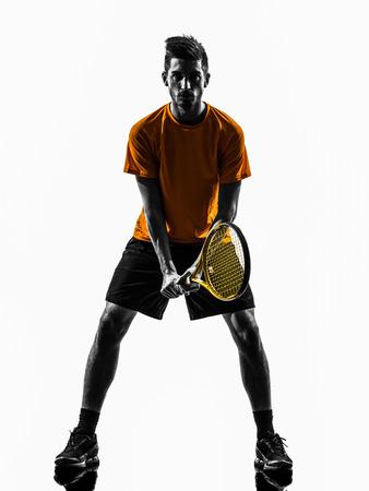 Un joueur de tennis de l'homme en silhouette sur fond blanc Banque d'images - 23666296