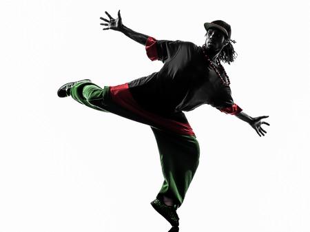 bailarin hombre: uno hip hop acrob�tico bailar�n de la rotura breakdance joven silueta fondo blanco Foto de archivo