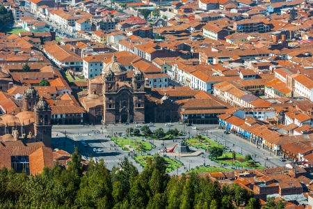 cuzco: aerial view of the Plaza de Armas of Cuzco city in the peruvian Andes Peru