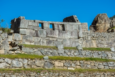 archaeology: Three Windows Temple in Machu Picchu, Incas ruins in the peruvian Andes at Cuzco Peru