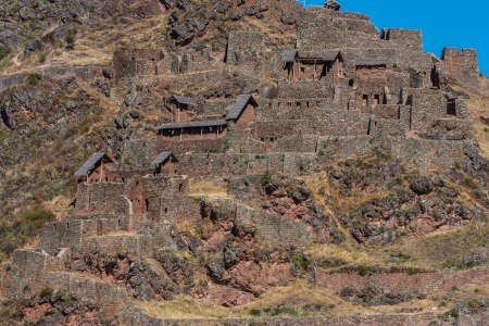 cuzco: Pisac, Incas ruins in the peruvian Andes at Cuzco Peru Stock Photo