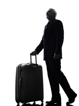 One Caucasian Senior Business Man traveler traveling Silhouette White Background photo