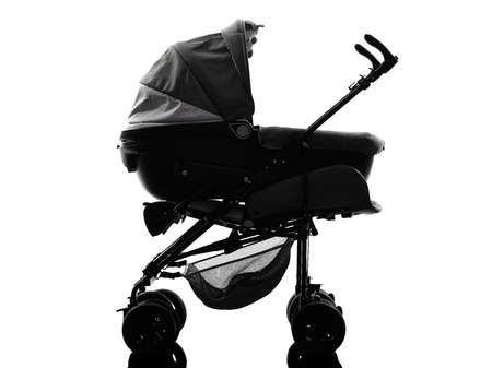 prams: one stroller  prams baby carriage silhouette on white