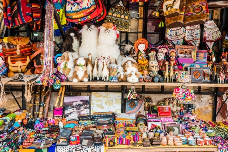 cuzco: traditional handcraft souvenirs in the peruvian Andes at Cuzco Peru