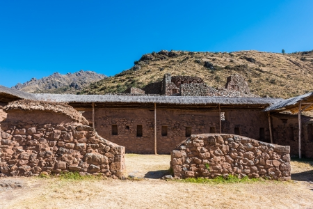 sacred valley of the incas: Pisac, Incas ruins in the peruvian Andes at Cuzco Peru Stock Photo