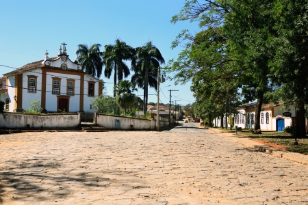 streetscene: view of the typical village of tiradente in minas gerais state in brazil Stock Photo