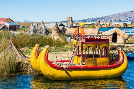 Uros floating islands in the peruvian Andes at Puno Peru Stock Photo