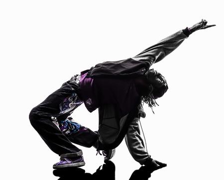 baile hip hop: uno hip hop acrob�tico bailar�n de la rotura breakdance joven silueta blanca