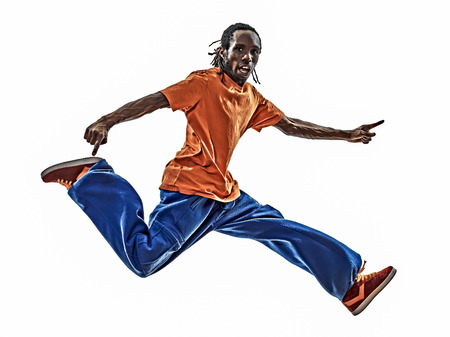 one hip hop acrobatic break dancer breakdancing young man jumping silhouette white background photo