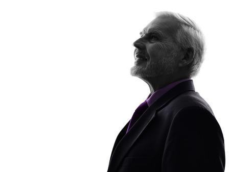 One Caucasian Senior Business Man Silhouette White Background Stok Fotoğraf - 24195168
