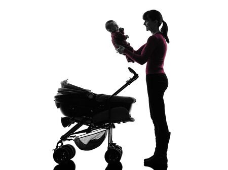 prams: one caucasian woman prams holding baby silhouette on white background