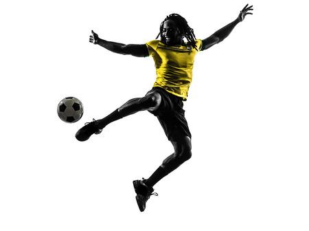 een braziliaans voetbalvoetbalster man in silhouet studio op witte achtergrond
