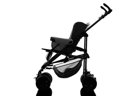 prams: one stroller  prams baby carriage silhouette on white background