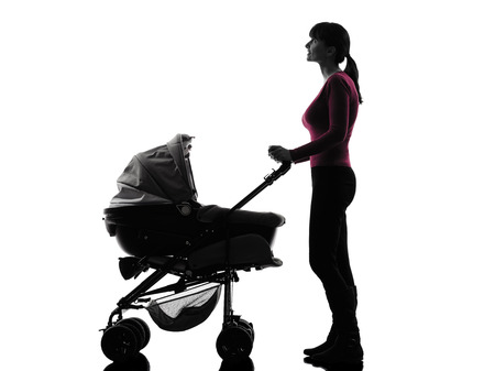 prams: one caucasian woman prams baby looking up  silhouette  on white background Stock Photo