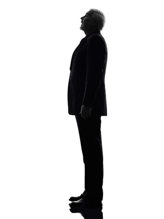 senior business man: One Caucasian senior business man surprised looking up silhouette White Background Stock Photo