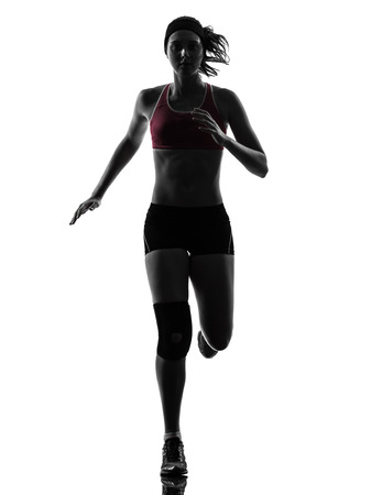 one woman: one caucasian woman runner running marathon in silhouette studio isolated on white background