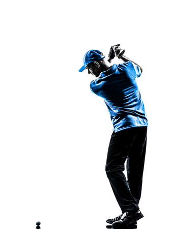 golfing: one man golfer golfing golf swing in silhouette studio isolated on white background