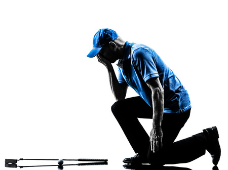 one man: one man golfer golfing in silhouette studio isolated on white