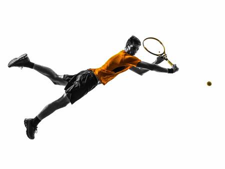 Ein Mann, der Tennis-Spieler in der Silhouette Standard-Bild - 25078653