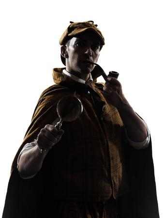 Sherlock holmes silhouette en studio sur fond blanc Banque d'images - 25193833