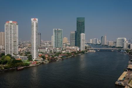 chao: Chao Phraya river and Bangkok cityscape at Thailand