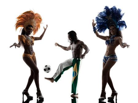 brazilian women samba dancer and soccer player man dancing silhouette on white background photo