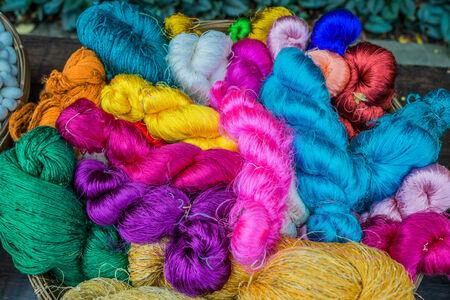 thailand silk: colorful silk yarns at Jim Thompson House museum  bangkok thailand