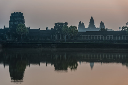 angkor wat panorama viewed across the moat at cambodia photo
