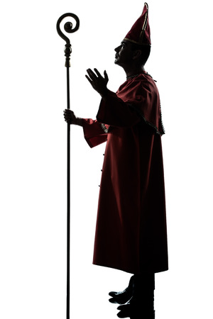 one man: one man cardinal bishop silhouette saluting blessing in studio isolated on white background