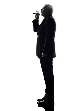One Caucasian Senior Business Man Smoking Electronic E-cigarette Silhouette White Background photo