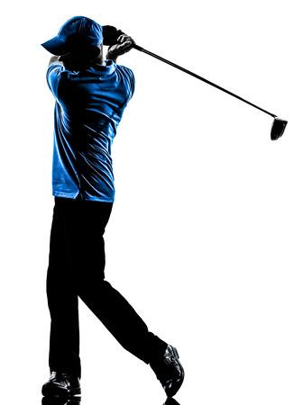 흰색 배경에 고립 된 실루엣 스튜디오에서 한 남자 골퍼 골프 골프 스윙 스톡 콘텐츠