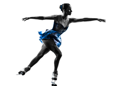 figure skating: one caucasian woman ice skater skating in silhouette on white background Stock Photo