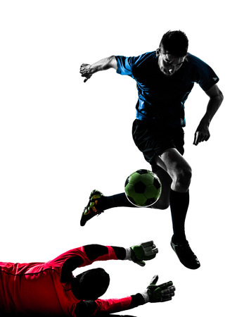 adversary: two caucasian soccer player goalkeeper men competition in silhouette isolated white background