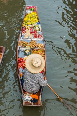 market place: fruit boat Amphawa bangkok floating market bangkok thailand