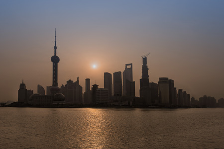 Shanghai, China - April 7, 2013: pudong at sunrise at the city of Shanghai in China on april 7th, 2013